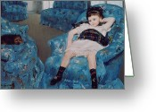 Cassatt Greeting Cards - Little Girl in a Blue Armchair Greeting Card by Mary Stevenson Cassatt