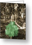Princess Grace Greeting Cards - Little girl in fairy costume in the forest Greeting Card by Gordana Sermek