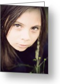Secrecy Greeting Cards - Little girl in field with huge eyes Greeting Card by Ethiriel  Photography