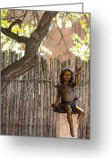Elizabeth Rose Greeting Cards - Little Girl Sculpture on Canyon Road Greeting Card by Elizabeth Rose