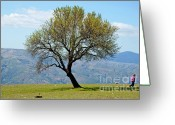 Mountain Ranges Greeting Cards - Little girl walking past a tree in springtime Greeting Card by Sami Sarkis