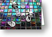 Chess Pieces Greeting Cards - Little Glass Pandas 26 Greeting Card by Sarah Loft