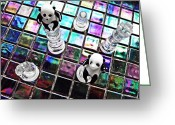 Chess Pieces Greeting Cards - Little Glass Pandas 27 Greeting Card by Sarah Loft