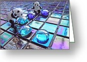 Disks Greeting Cards - Little Glass Pandas 46 Greeting Card by Sarah Loft