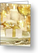 Eat Greeting Cards - Little gold ribboned gift Greeting Card by Sandra Cunningham
