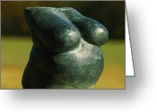 Granite Sculpture Greeting Cards - Little Granite Torso  Greeting Card by Tommy  Urbans