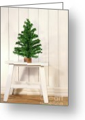 New-year Greeting Cards - Little green fir tree Greeting Card by Sandra Cunningham