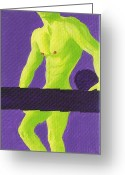 Nudes Males Greeting Cards - Little Green Man on Purple Greeting Card by Randall Weidner