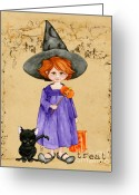 Trick Painting Greeting Cards - Little Halloween Witch Greeting Card by Cindy Garber Iverson