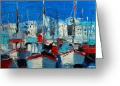 Vermillon Greeting Cards - Little Harbor Greeting Card by EMONA Art