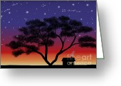 Tree. Acacia Greeting Cards - Little House At Sunset Greeting Card by Methune Hively