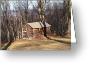 Log Cabin Photographs Photo Greeting Cards - Little House In The Woods Greeting Card by Robert Margetts