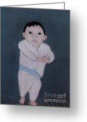 Little Boy Pastels Greeting Cards - Little Indian Boy Greeting Card by Angela Pari  Dominic Chumroo