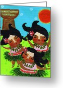 Banana Tree Greeting Cards - Little Island Girls Dance Greeting Card by Jennifer R S Andrade