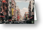 New York Signs Greeting Cards - Little Italy Greeting Card by Benjamin Matthijs