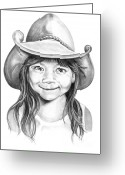 Cowboy Pencil Drawing Greeting Cards - Little Maya Greeting Card by Murphy Elliott