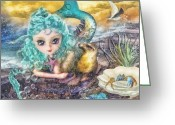 Sunset Light Greeting Cards - Little Mermaid Greeting Card by Mo T