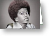 King Of Pop Greeting Cards - Little Michael Greeting Card by Reggie Duffie