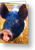 Wings Domain Greeting Cards - Little Miss Piggy Greeting Card by Wingsdomain Art and Photography