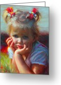 Bows Greeting Cards - Little Miss Sunshine Greeting Card by Talya Johnson