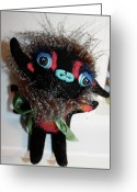 Animal Ceramics Greeting Cards - Little Monster Greeting Card by Kathleen Raven
