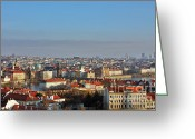 Rooftops Greeting Cards - Little Mother Prague Greeting Card by Christine Till