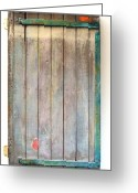 Standing Sculpture Greeting Cards - Little Painted Gate in Summer Colors  Greeting Card by Asha Carolyn Young