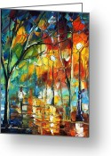 Europe Painting Greeting Cards - Little Park Greeting Card by Leonid Afremov