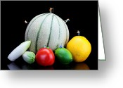 Tomato Digital Art Greeting Cards - Little People Hiking on Fruits Greeting Card by Mingqi Ge