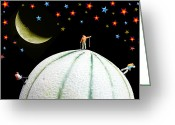 Tomato Digital Art Greeting Cards - Little People Hiking on Fruits under Starry Night Greeting Card by Mingqi Ge