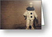 Clown Pyrography Greeting Cards - Little Pierrot Greeting Card by Tove Jessica Frank