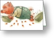 Pig Greeting Cards - Little Pig Greeting Card by Kestutis Kasparavicius