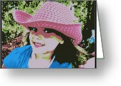 Cowgirl Prints Greeting Cards - Little pink cowgirl Greeting Card by Michelle Frizzell-Thompson