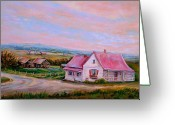 Old Country Roads Painting Greeting Cards - Little Pink Houses Greeting Card by Carole Spandau