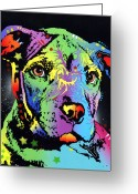 Dog Print Greeting Cards - Little Pittie Warrior Greeting Card by Dean Russo
