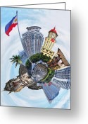 Shape Framed Prints Photo Greeting Cards - Little Planet - Manila Greeting Card by Yhun Suarez