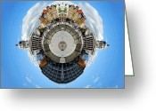 Town Hall Greeting Cards - Little Planet - Nottingham Town Hall Greeting Card by Yhun Suarez