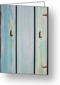 Turquoise Ink Sculpture Greeting Cards - Little Pump House Door Greeting Card by Asha Carolyn Young