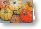 Decoration Pastels Greeting Cards - Little Pumpkins Greeting Card by Hilda Vandergriff