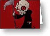 Scythe Greeting Cards - Little Reaper Greeting Card by John Schwegel
