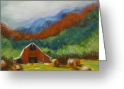 Nestled In Greeting Cards - Little Red Barn Greeting Card by Pati Pelz