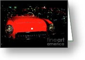 Transportation Digital Art Greeting Cards - Little Red Corvette Greeting Card by Wingsdomain Art and Photography
