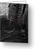 Rural Decay Prints Greeting Cards - Little Red Grunge Greeting Card by Larysa Luciw
