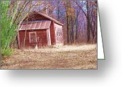 Old Out Houses Greeting Cards - Little Red House Greeting Card by Dave Dresser