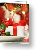 Eat Greeting Cards - Little red ribboned gift Greeting Card by Sandra Cunningham