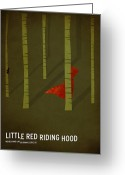 Canvas Greeting Cards - Little Red Riding Hood Greeting Card by Christian Jackson