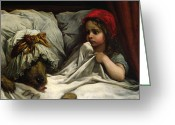 Indoors Greeting Cards - Little Red Riding Hood Greeting Card by Gustave Dore