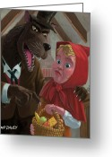 Sharp Teeth Greeting Cards - Little Red Riding Hood With Nasty Wolf Greeting Card by Martin Davey