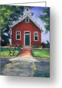 Red Pastels Greeting Cards - Little Red Schoolhouse Nature Center Greeting Card by Christine Kane