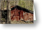 Shed Digital Art Greeting Cards - Little Red Shed Greeting Card by Ginger Barritt